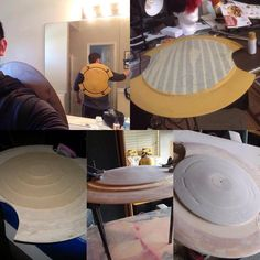 Here is just a quick rundown on how I made the Pyrrha Nikos shield from RWBY 1) I cut out circles of different diameters. Each layer was 1/4in thick 2) Glue each piece down biggest to smallest 3) N...