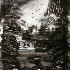 Black & white nature spray painting- art by Robert Stevens