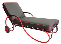 American Art Deco Black and Red Chaise Lounge