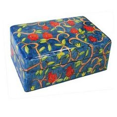 Yair Emanuel Small Wooden Jewelry Box With Pomegranates