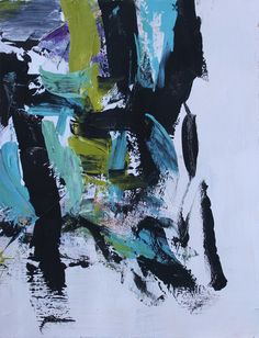 Julie Schumer Composition with Black and Teal Acrylic on paper