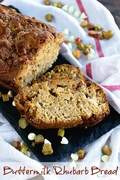 Buttermilk Rhubarb Bread ~ Quick, Easy Bread Recipe Loaded with Rhubarb and White Chocolate Chips! ~ http://www.julieseatsandtreats.com
