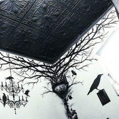 Looking for bar office & entertaining decor/furniture. Great inspirations from @aureliovoltaire Learn how to make this Cemetery Gates Lamppost from a cheap Home Depot floor lamp and where to get these amazing ceiling tiles in episode two of Gothic Homemaking! (Link in the bio!) #gothichomemaking #gothicfurniture #gothicdecor #Gothic #goth #gothicstyle #gothiclamp #cemeterygateslamppost #diy #homeimprovement #howto #ceilingtiles #ceilume