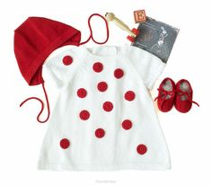Knitted baby dress set white and red ladybug dress. by tenderblue