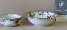 Greystone Fine Furniture - Vintage white bowl with gold trim and burgundy flowers $15 each