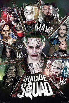 Suicide Squad: Deadshot (Will Smith), Rick Flag (Joel Kinnaman, Captain Boomerang (Jai Courtney), Slipknot (Adam Beach), Harley Quinn (Margot Robbie), Killer Croc (Adewale Akinnuoye-Agbaje), Enchantress (Cara Delevingne), El Diablo (Jay Hernandez), Katana (Karen Fukuhara) and Joker (Jared Leto)