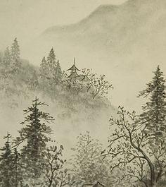 Vintage Japanese Shikishi Art Print - Landscape Sumi-e by softypapa, via Flickr