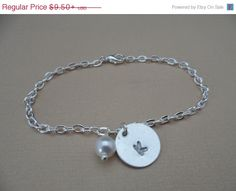 Year End Sale Initial and Pearl Bracelet or by DaniJessBoutique