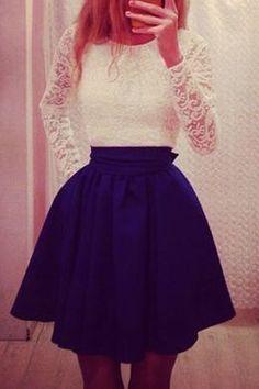 Lace Spliced Long Sleeve Flare Dress