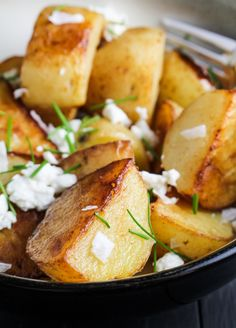 Crispy Sea Salt and Vinegar Potatoes with Goat Cheese and Chives | {Katie at the Kitchen Door}