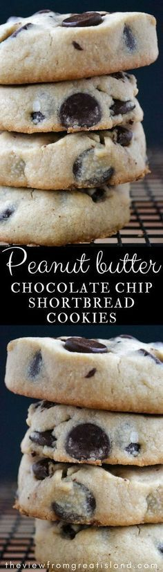 Peanut Butter Chocolate Chip Shortbread Cookies are an easy to make slice and bake chocolate chip cookie recipe with a melt in your mouth texture, a light peanut butter flavor, and plenty of chocolate chips! #cookies #shortbread #peanutbuttercookies #chocolatechipcookies #sliceandbake #shortbreadcookies #holidaycookies #Christmascookies #easycookies #chocolate #chocolatechips #bestcookies #bestchocolatechipcookies #cookierecipe #peanutbuttercookierecipe