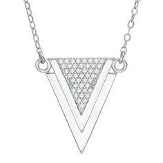 Zales 1/6 CT. T.w. Diamond Triangle on Bar Necklace in Sterling Silver ri0Z1