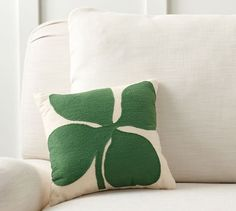 Pottery Barn Four Leaf Clover Crewel Embroidered Pillow