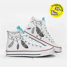 Bestseller boho style shoes design: Dreamcatcher Custom Hi Top designer's shoes PROSPECT AVENUE ethnic style lace up - shop it on eBay