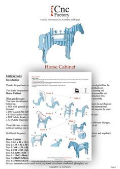 HORSE CABINET - Template cutting file - Horse storage stand - laser and cnc router cutting plans, animal bookshelf, wooden puzzle Cnc Plasma, Routeur Cnc, Autocad, Cnc Router Machine, Laser Cutting Machine, Cardboard Crafts, Wood Crafts, Diy Wood, Cnc Projects