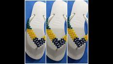 Como fazer havaiana bordada com pérolas bandeira do Brasil Cida reis