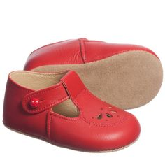 Stunning bright red pre-walker shoes by Early Days in a traditional style with a t-bar and little button fastening. Made in England from beautifully soft Italian leather.