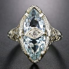 Vintage Aquamarine Filigree Ring - Wedding Diary