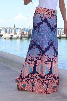 peach printed maxi skirt