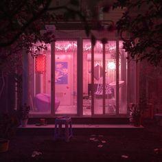 widok przez różowe szyby