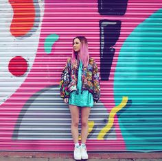 """177 Me gusta, 4 comentarios - Glitter Disco Child (@glitter_disco_child) en Instagram: """"So many colours and patterns 💕🌈 Photography: @giuliabardelli 💕 Dress: @prettylittlething ✨ Jacket:…"""""""
