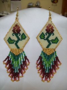Native American Beaded Antique Victorian Rose Earring