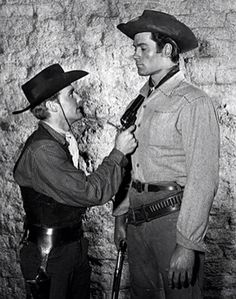 Dennis Hopper: Dennis Hopper and Clint Walker in a scene from ABC's Cheyenne in 1956 Cheyenne Tv Show, Cheyenne Bodie, Old Western Actors, Western Movies, Clint Walker Actor, Dennis Hopper, Tv Westerns, Hooray For Hollywood, Famous Stars