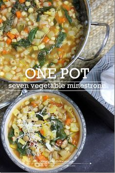 The Best Healthy Recipes: Seven Vegetable Minestrone Soup. Whether you are braving a cold or the cold weather – this super healthy, Seven Vegetable Minestrone Soup is bound to make you feel better & fill you up. Slow Cooker Recipes, Soup Recipes, Vegetarian Recipes, Dinner Recipes, Cooking Recipes, Healthy Recipes, Healthy Soups, Delicious Recipes, Recipies