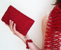 Red Crochet Clutch Bag