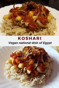Koshari is a very popular and delicious vegan street food from Egypt. It's also the national dish of Egypt. Vegetarian Recipes, Cooking Recipes, Healthy Recipes, Vegan Vegetarian, Egyptian Food, Egyptian Recipes, National Dish, Vegan Main Dishes, Recipes