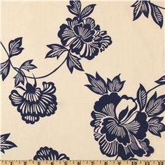 Stretch Cotton Poplin Hawaii Floral Blue