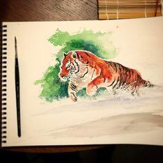 #watercolorpainting #watercolor #artwork #tiger #nature #tiger #painting #snow #beautiful #comicart #comics #comicbookartist #sketchbook #sketch #brushwork #brush
