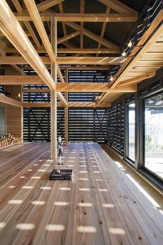 "This awesome barn style home design is a unique workshop / home in Hamamatsu City by Japanese architecture firm Yukiharu Suzuki & Associates. This industrial-chic house has a ""homey"" twist. Architecture Design, Timber Architecture, Modern Japanese Architecture, Sustainable Architecture, Residential Architecture, Timber Structure, Modern Barn, Modern Farmhouse, Japanese House"