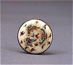 Old Japanese Satsuma Hat Hair Pin Hatpin Hairpin Button