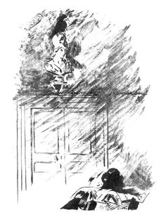 """Illustration by Manet. """"But the Raven still beguiling all my fancy into smiling, Straight I wheeled a cushioned seat in front of bird, and bust and door..."""""""