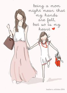 Mom and Daughter Art Art for Moms by RoseHillDesignStudio