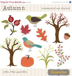 Clementine Digitals - Fall clip art images,  fall clipart, autumn vector, royalty free clip art- Instant Download. $3,00, via Etsy.