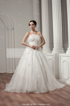 Amazing White A-Line Court Train Satin Strapless Wedding Dress -Wedding & Events-Wedding Dresses-Strapless Wedding Dresses