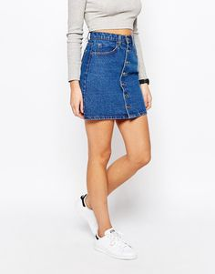 Boohoo Denim Button Through Skirt