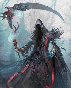 The Death by yakun wang Concept artist in Tencent Games Dark Fantasy Art, Fantasy Artwork, Dark Art, Beautiful Fantasy Art, Fantasy Monster, Monster Art, Fantasy Character Design, Character Art, Illustration Fantasy