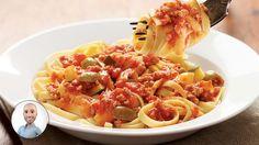 Fettuccinis avec sauce tomate à la viande et aux courgettes #IGA #recette #pâtes