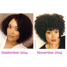 Both of these pictures are of wash and go's. The goal over the past year was to revive my curls and achieve healthy hair. I wasn't concerned with length at all. I cut my hair 5 or 6 times since the summer of 2014 to get rid of heat damage and I'll be trimming it again soon. I will try to retain length in 2016 but I won't obsess over it  #HealthOverLength #progress #tbt