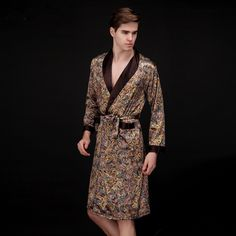 2015 New Men Sleep Lounge Robes Fashion Male Summer Rayon Silk Sleepwear Bathrobe Sexy Print Bath Robe Pajama Good Quality CK41