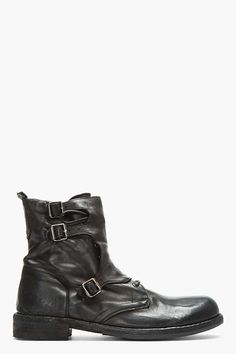 Officine Creative Black Leather Buckled Lace-Up SERRANO Boots | military inspired menwear | mens boots | mens style | mens fashion | wantering