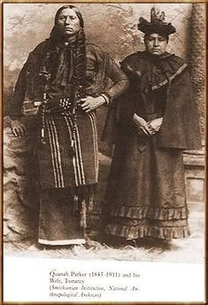 Quanah Parker , Comanche Chief with Tonarcy, his favourite of all his wives. The total number of wives he had varies by story. He had at least three - and by some accounts - up to seven, Native American Pictures, Native American Tribes, Native American History, American Indians, Native Americans, American Symbols, American Women, American Art, Comanche Indians