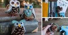 Kreatívny DIY nápad s jednoduchým návodom na krásne vianočné ozdoby v podobe sovičiek. Sovičky zo šišiek a filcu, krásna handmade dekorácia na Vianoce