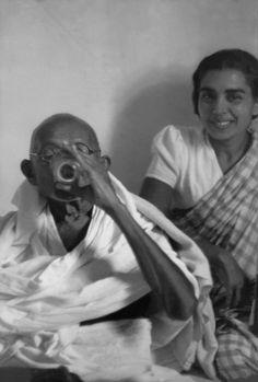 © Henri Cartier-Bresson/Magnum Photos Delhi. Birla House. 1948. GANDHI, just after breaking his fast.
