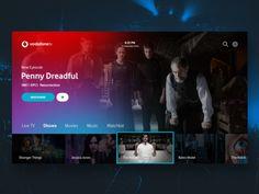TV App - Daily UI designed by Nacho Ortega. Dashboard Design, App Ui Design, User Interface Design, Live Tv Show, Tv App, Daily Ui, Apps, Website Design Inspiration, Interactive Design