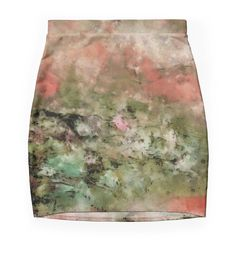 """Abstract art coral green"" Pencil Skirts by floraaplus 