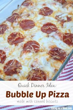"""This is the easiest pizza recipe. You use canned biscuits and when the """"bubble"""" up, you know it is done. The kids love it and it is very easy on your budget! fast dinners fast dinner recipes #recipe #dinner"""
